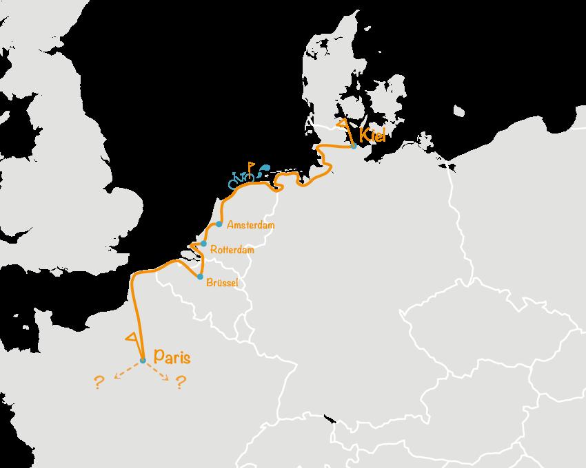 Europakarte mit geplanter Route